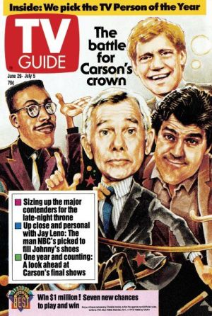 "Wheeeere's Johnny? Late-Night TV Could Definitely Use A Host Like You! (The Tonight Show, Johnny Carson, David Letterman, Jay Leno, Arsenio Hall, TV Guide cover ""The battle for Carson's Crown"")"