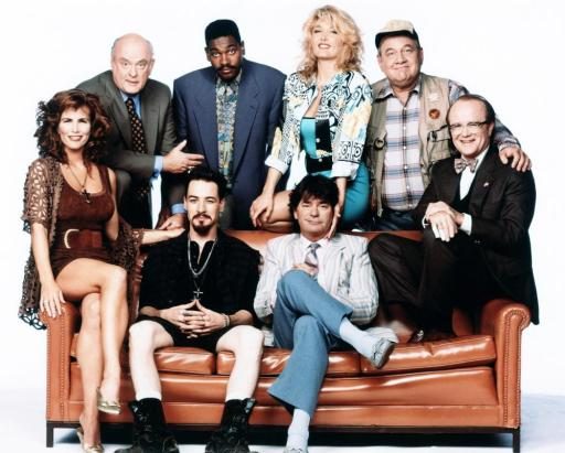 The New WKRP In Cincinnati tv show cast: Gordon Jump, Mykelti Williamson, Marla Rubinoff, John Chappell, (bottom): Tawny Kitaen, French Stewart, Frank Bonner, Richard Sanders