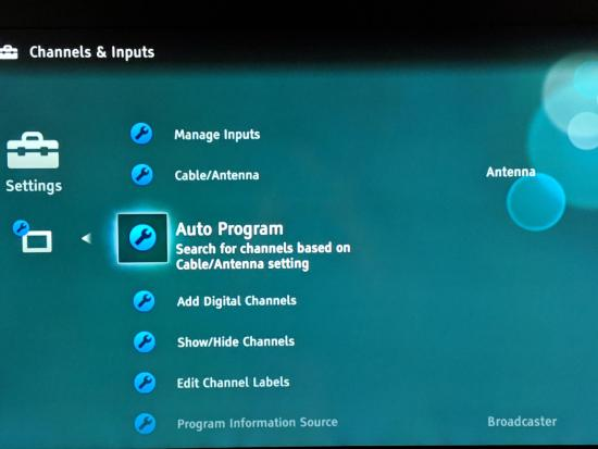 On-screen TV menu - Auto Program