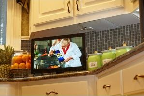 Mohu Leaf TV Antenna under kitchen cabinet