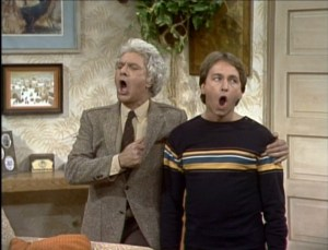 Three's Company episodes: Like Father, Like Son (Dick Shawn as Jack's dad)
