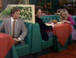 Three's Company Episode: Lies My Roommate Told Me (Larry on a date with Terri being fed lines by Jack)