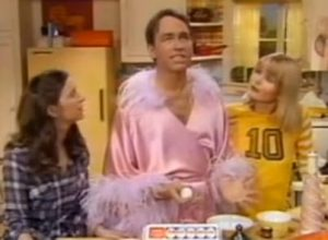 Three's Company Pilot: John Ritter with Suzanne Zenor as Samantha (Chrissy) and Valerie Curtin as Jenny (Janet)