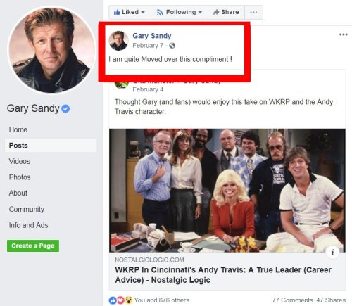 Gary Sandy Facebook Page WKRP article comment