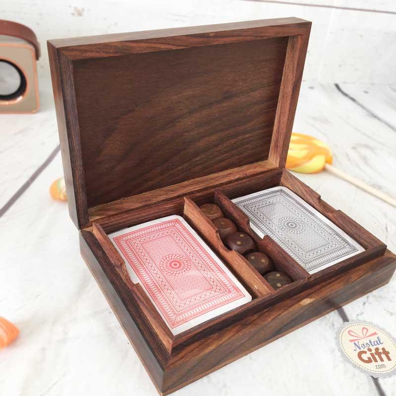 coffret jeux de cartes en bois