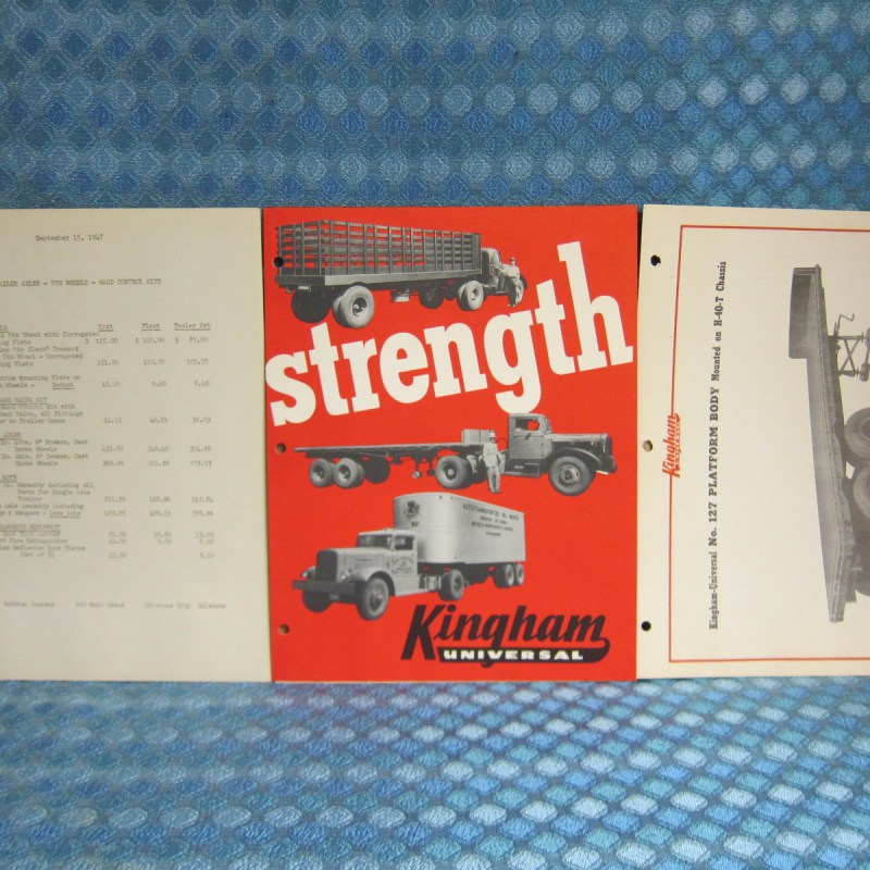 1947-48 Kingham Universal Semi Trailer Original Sales Folder & Info. 3 Piece Lot
