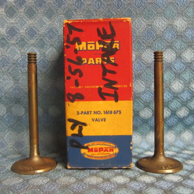 1956 57 Plymouth V8 NOS Mopar Box of 2 Intake Valves SEE AD