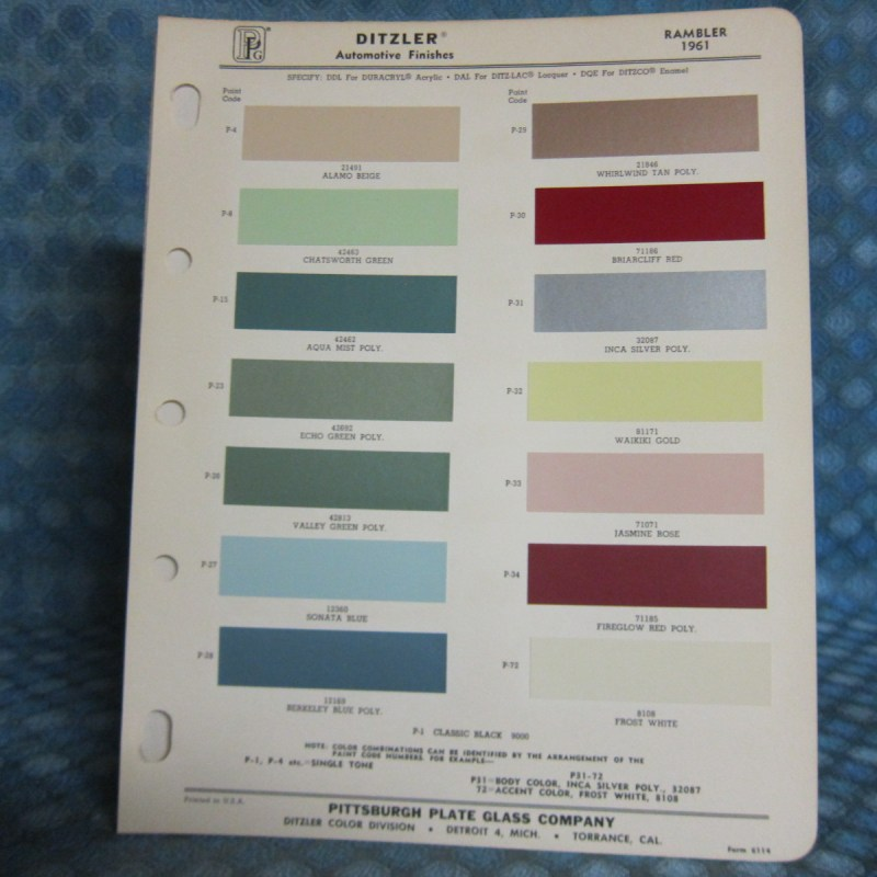1961 Rambler Original Ditzler Paint Color Chip Chart & Information Bulletin