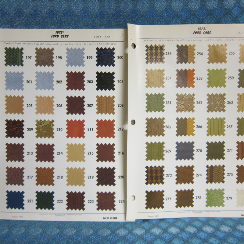 1973 Ford Car Original Upholstery - Soft Trim Identification Sample Pages
