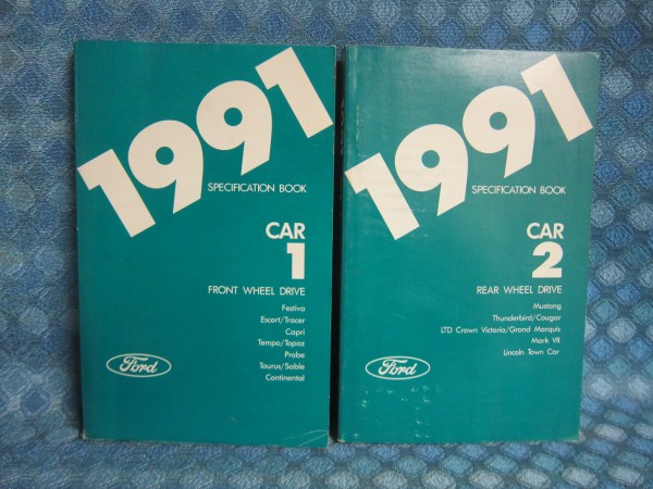 1991 Ford Lincoln Mercury Original Specification Book 2 Volume Set Mustang Tbird