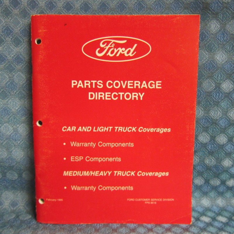 1995 Ford Car & Truck Orig Parts Coverage Directory Warranty & ESP Components
