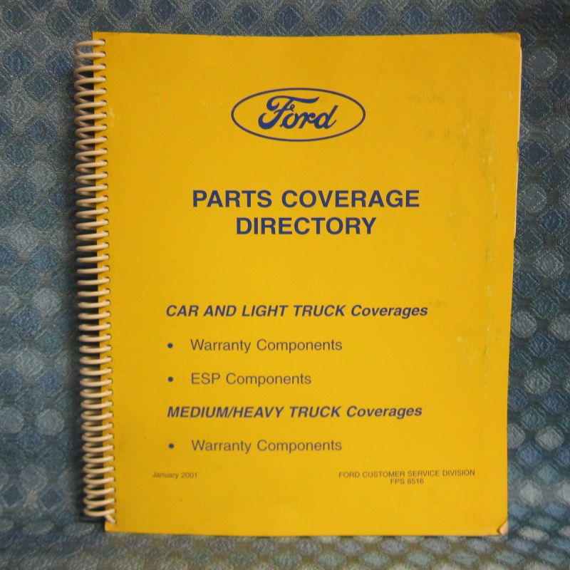 2001 Ford Car & Truck Orig Parts Coverage Directory Warranty & ESP Components