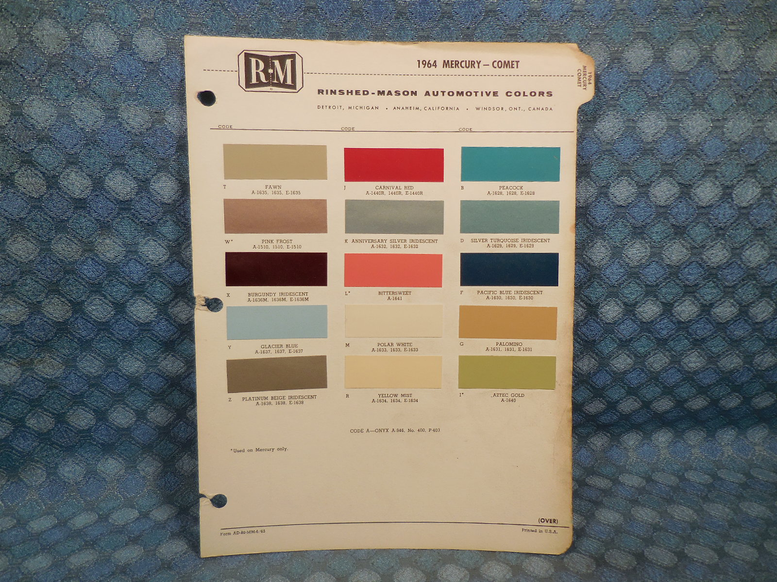1964 Mercury Original R M Paint Color Chip Chart Nos Texas Parts 1949 Chevy Truck Colors