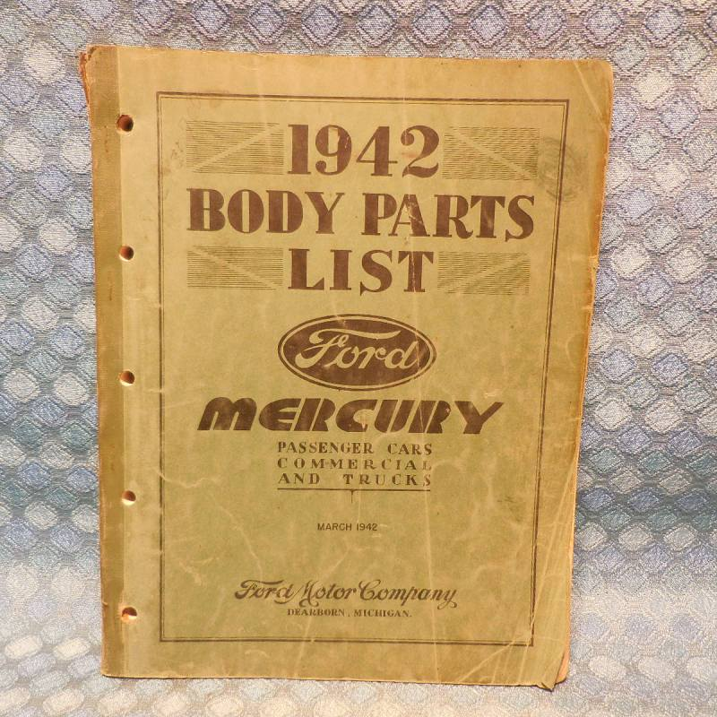 1942 Ford & Mercury Original Body Parts List Catalog Cars Commerical & Trucks
