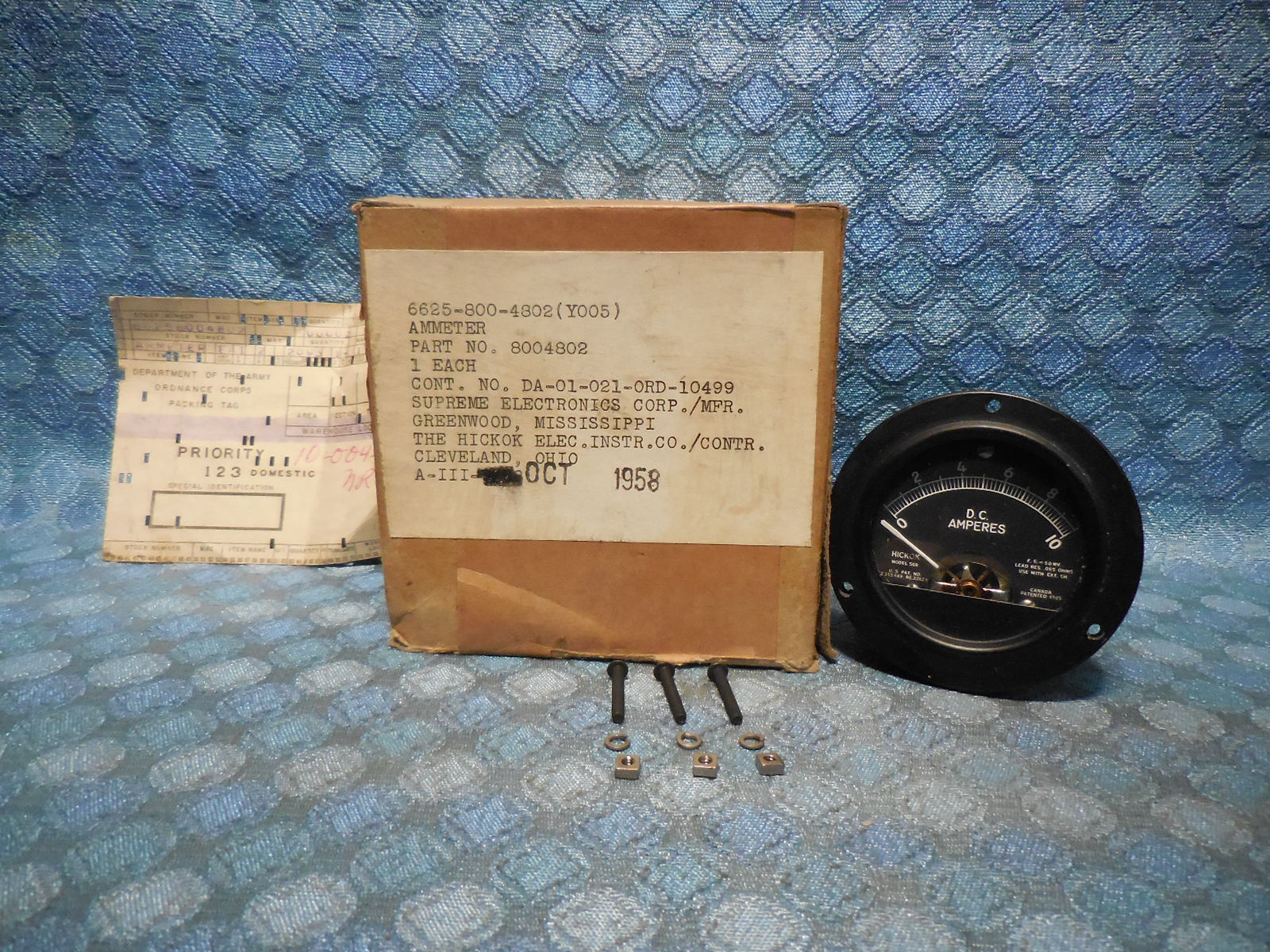 1958 Us Military Nos Hickok Dc Amperes Gauge Ammeter 8004802 Chevy Wiring Schematic Vehicle Panel