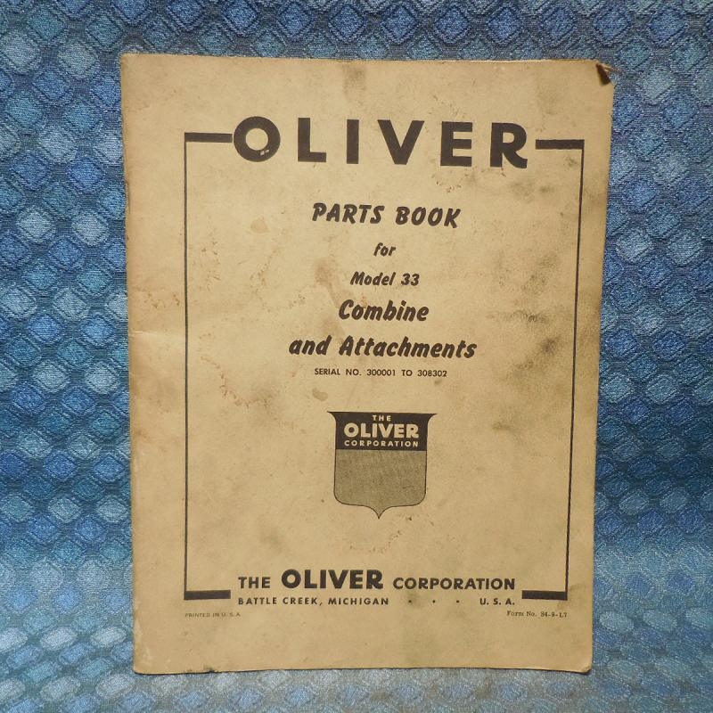 1949-1955 Oliver Model 33 Combine & Attachments Original Parts Book  51 52 53 54