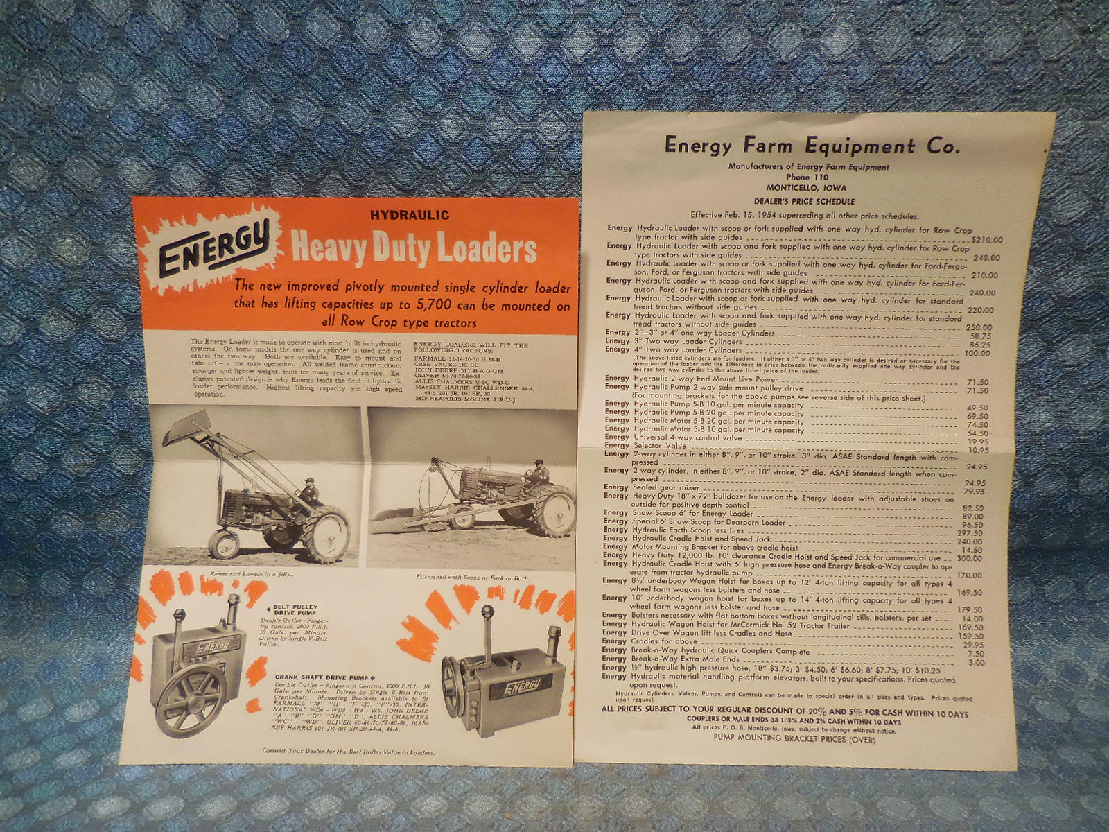 1954 Energy Hydraulic Loaders for Tractors Original Sales And Price Sheets  - NOS Texas Parts, LLC - Antique Auto Parts