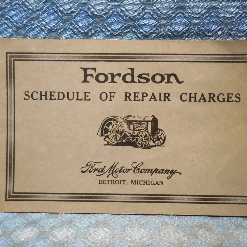 Circa 1922 - 1928 Fordson Tractor Original Schedule of Repair Charges