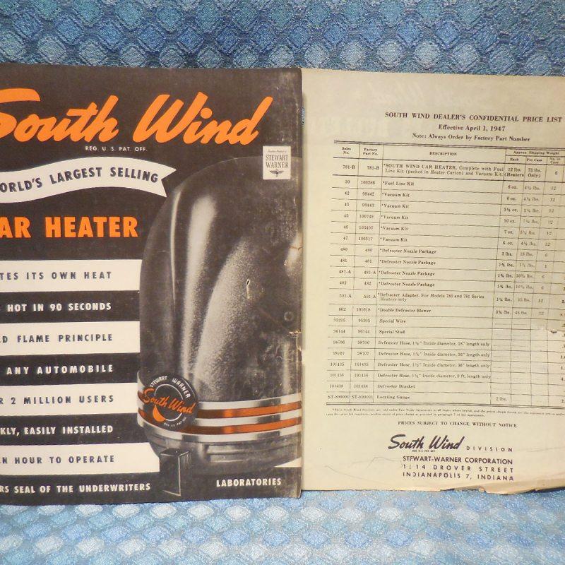 1947 South Wind Car Heater Original Sales Brochure and Price List