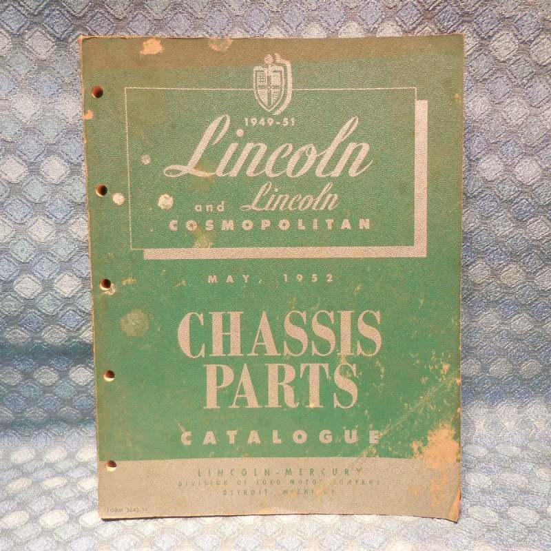 1949 1950 1951 Lincoln Original Chassis Parts Catalog Cosmopolitan