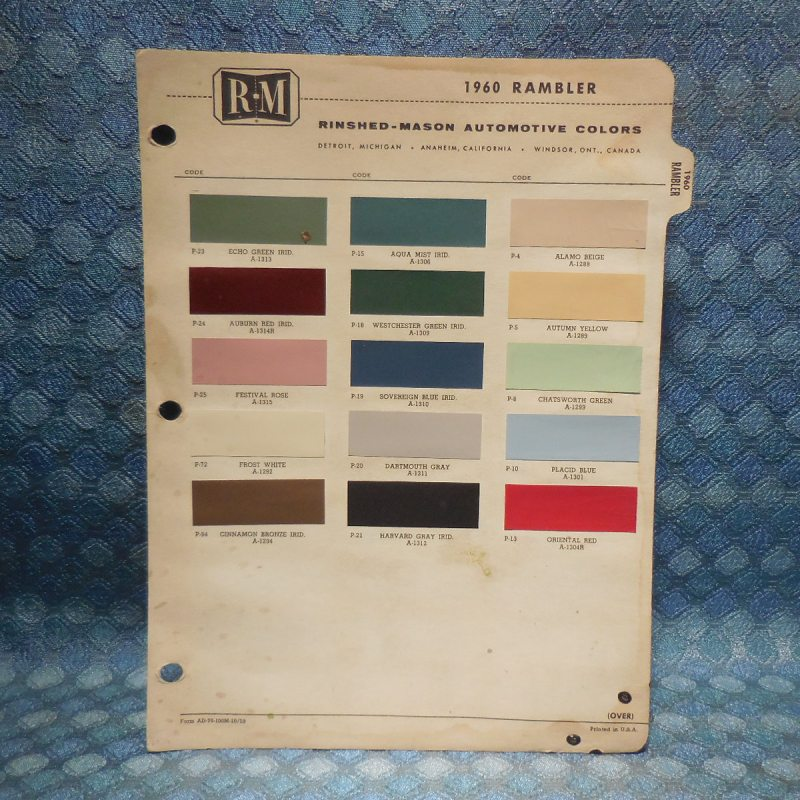 1960 Rambler Original R-M Paint Color Chip Chart