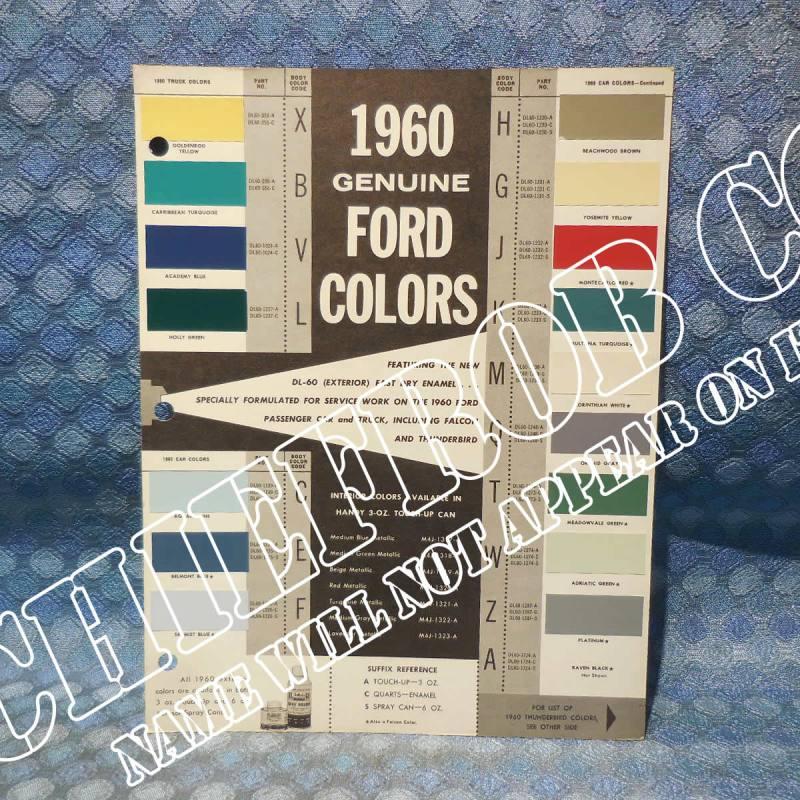 1960 Ford Car & Truck Original OEM Color Sample Chart