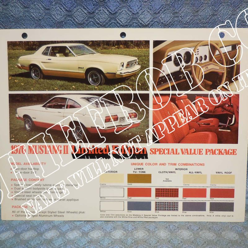1976 Ford Mustang II Limited Edition Original Salesmans Information Card