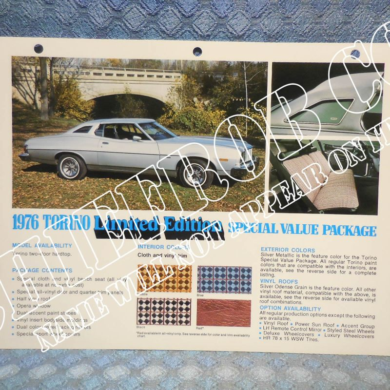 1976 Ford Torino Limited Edition Original Salesmans Information Card