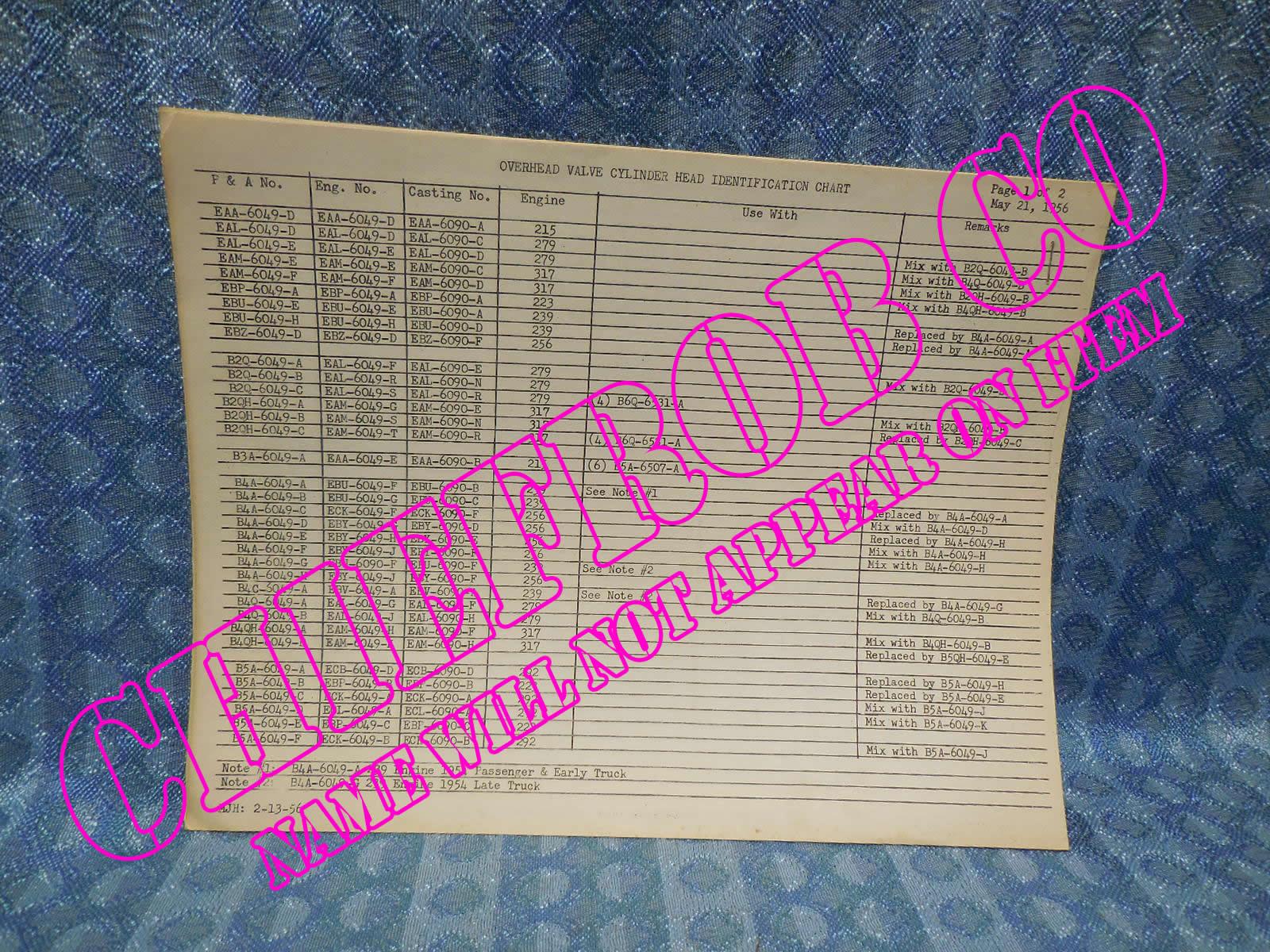 1954-1956 Ford Original Dealer Overhead Valve Cylinder Head & Block ID  Chart 55 - NOS Texas Parts, LLC - Antique Auto Parts