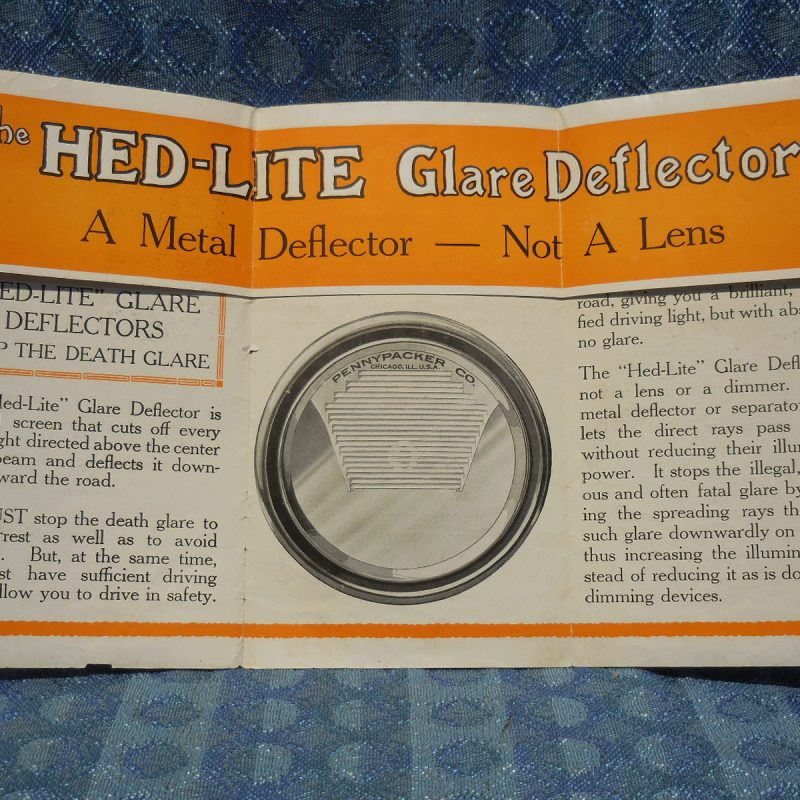 Circa 1925 Hed-lite Glare Deflectors Original Sales Folder Ford GM Dodge