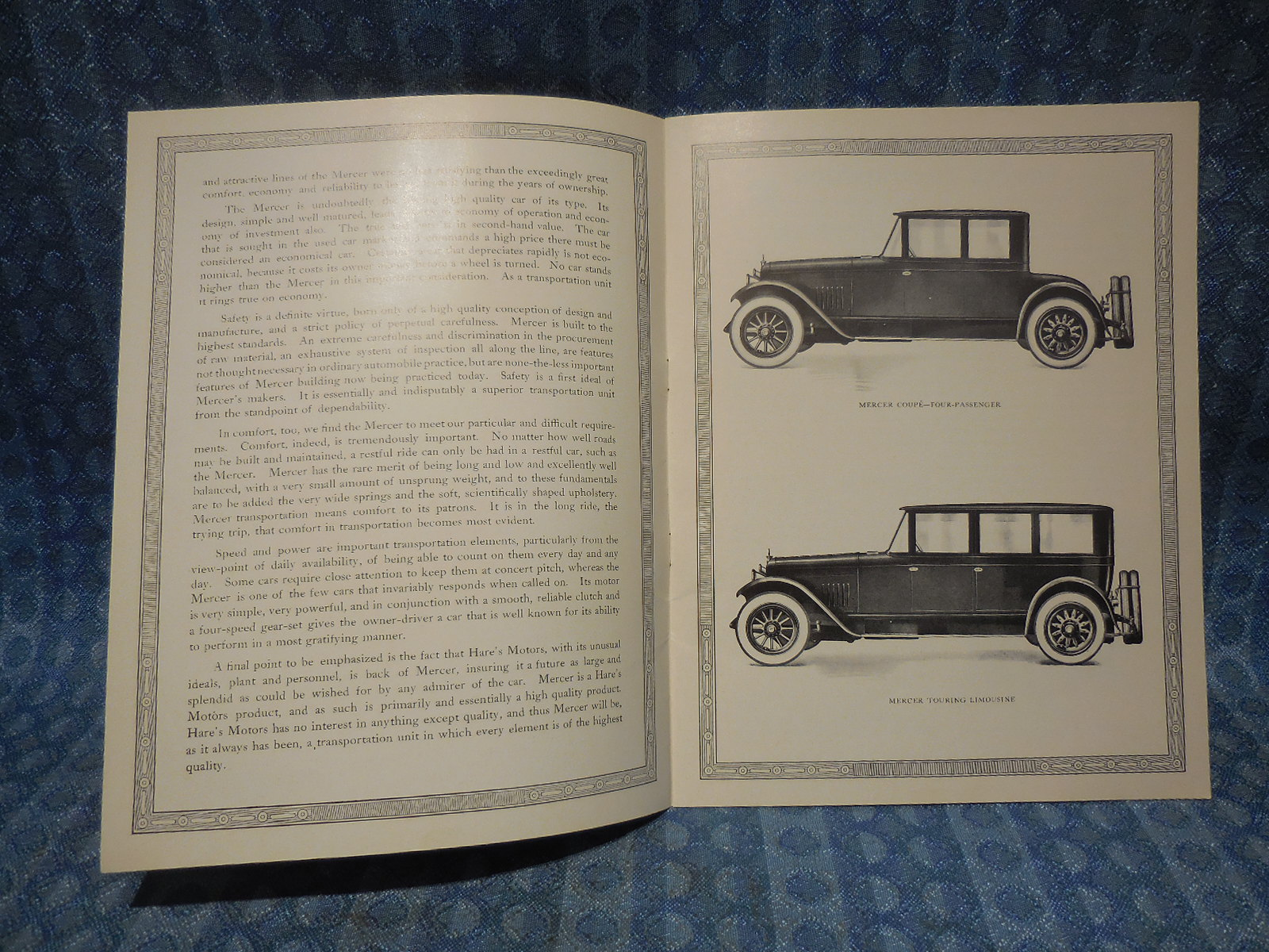 1921 1923 Mercer Series 5 Old High Quality Reprint Sales Booklet 1954 1955 1st Chevrolet Truck Wiring Diagram Manual