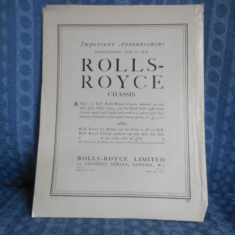 1925 Rolls-Royce 20 HP Sales Article from Motor-Owner June 1925