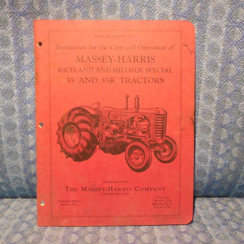 1948-1952 Massey-Harris 55 & 55K Tractors Riceland & Hillside Operation Manual