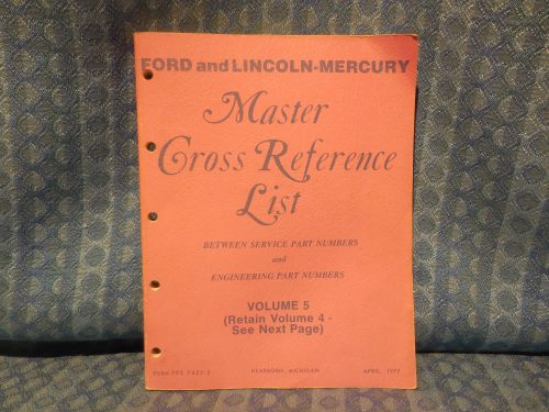 1975-1977 Ford Lincoln Mercury Parts Original Master Cross Reference Catalog
