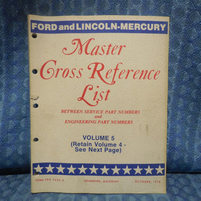 1975-77 Ford Lincoln Mercury Parts Original Master Cross Reference List Catalog