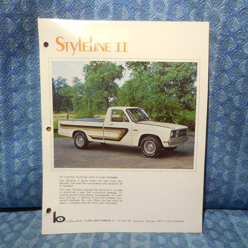 1979 Ford Courier Conversion Styleline II by Bivouac Original Sales Brochure