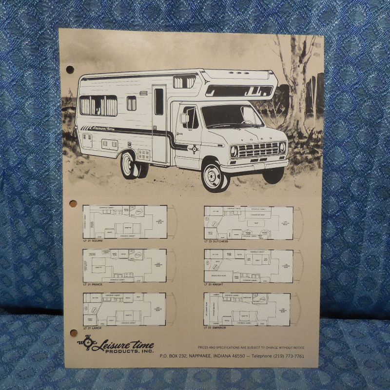 1979 Leisure Time RV Mini Motorhome / Ford Original Sales Flyer