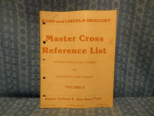 1980-1983 Ford Lincoln Mercury Truck Master Cross Reference List Manual Mustang