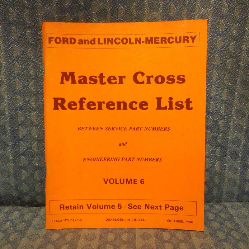 1980-81 Ford Lincoln Mercury Master Cross Reference List Manual Including Truck