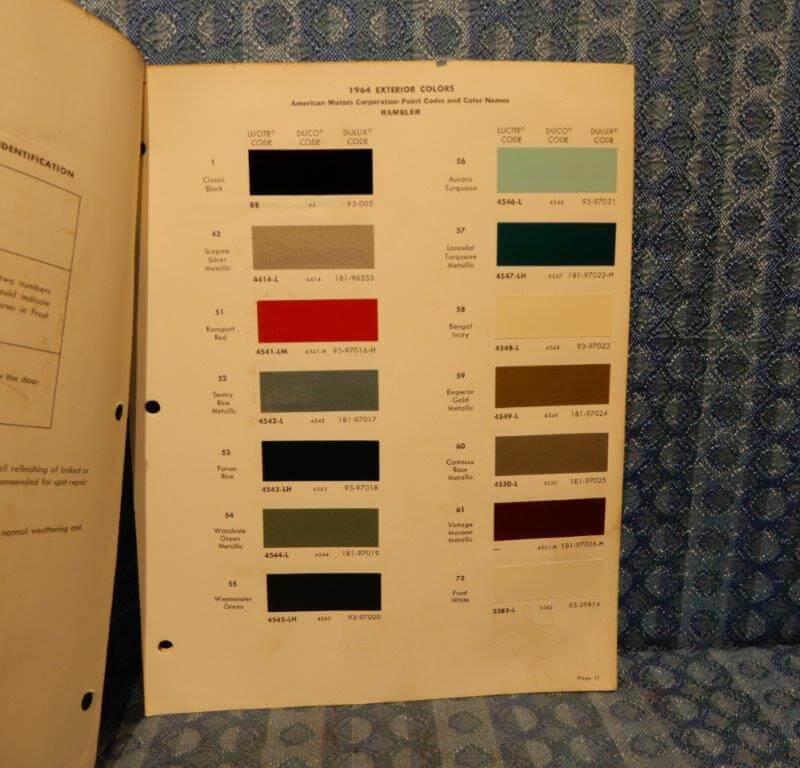 1964 American Motors Rambler Original Dupont Paint Color 3 Pages