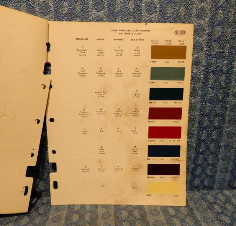 1968 Chrysler Dodge Plymouth Imperial Original Dupont Paint Color - 5 Pages