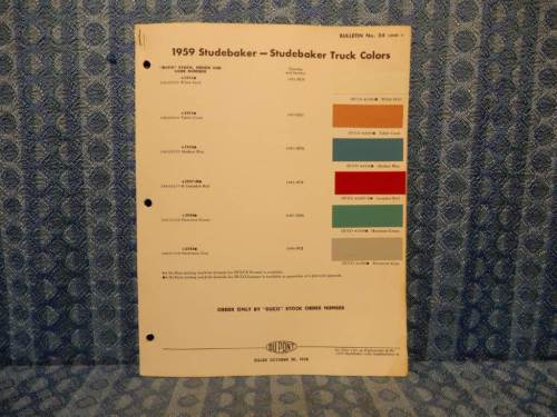 1959 Studebaker & Studebaker Truck Original Paint Color Chip Chart - 2 Pages