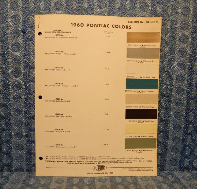 1960 Pontiac Original Paint Color Chip Chart 2 Pgs Bonneville Ventura Star Chief