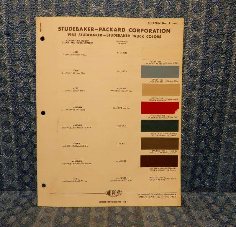 1962 Studebaker & Studebaker Truck Original Paint Color Chip Chart - 2 Pages