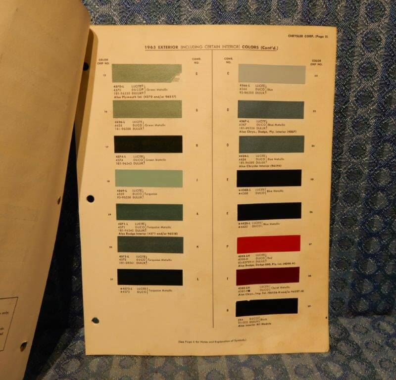 1963 Chrysler Dodge Plymouth Imperial Truck Original Paint Color Chart 5 pages