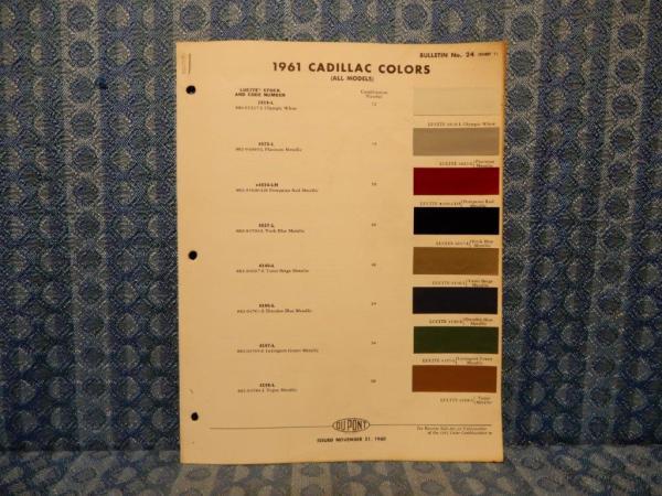 1961 Cadillac Orig Paint Color Chip Chart DeVille, Fleetwood, El Dorado 3 Pages