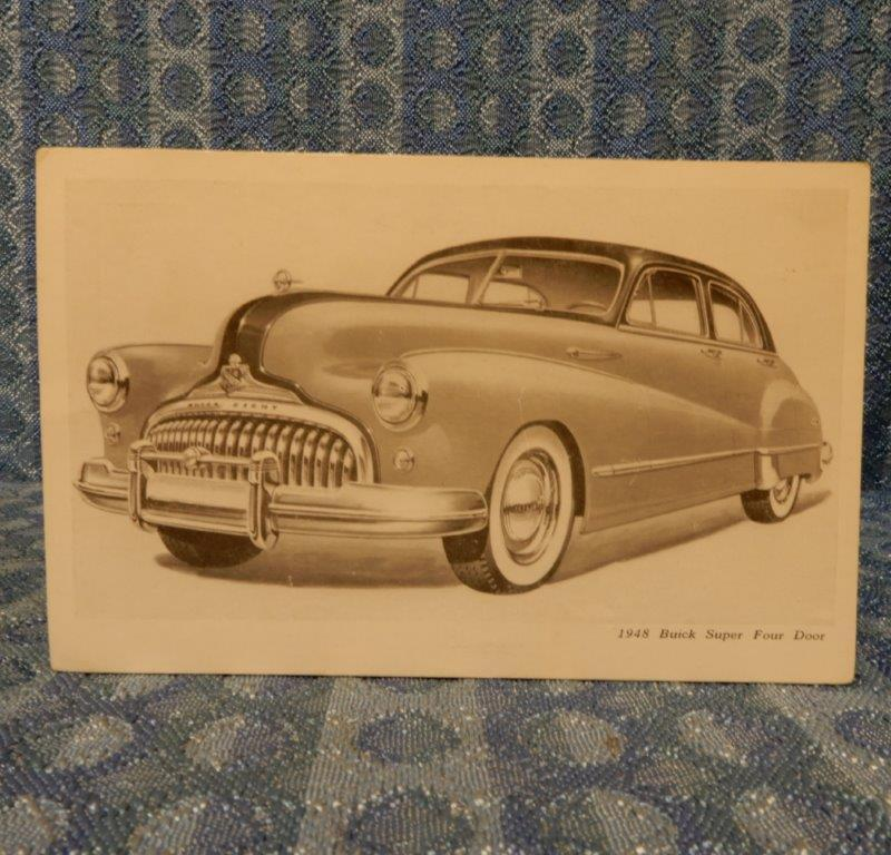 1948 Buick Super Four Door Original Factory / Dealer Postcard