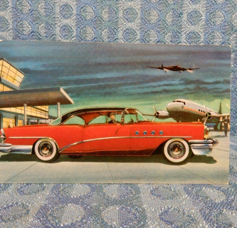 1955 Buick Roadmaster Riviera 76-R NOS Factory / Dealer Color Postcard