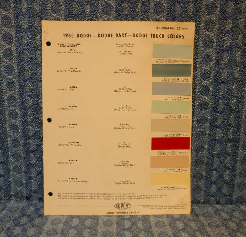 1960 Dodge Polara, Matador, Dart, Truck Original Dupont Paint Color Chart 3 pgs