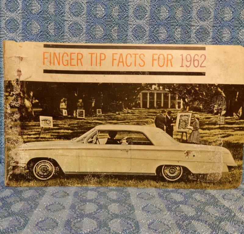 1962 Chevrolet OEM Dealer Finger Tip Facts Book Corvair Corvette Impala Biscayne